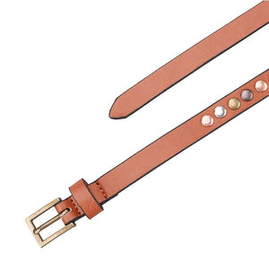 Punk Style Riveting Narrow Rivets Belts For Women PU Leather Female Belt Waist Belt Ladies Jeans
