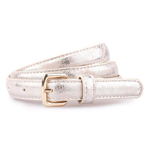 Sliver Thin Belt For Women PU Leather Belt Metal Pin Buckle Decorative Accessories