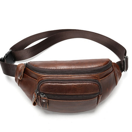 Men's Genuine Leather Waist Bag With Phone Pouch - GiftWorldStyle - Luxury Jewelry and Accessories
