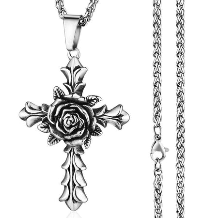 Unisex Stainless Steel Rose Cross Pendant Necklace