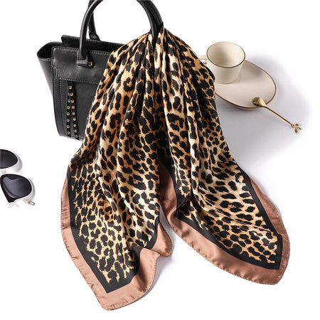 Square Silk Scarf with Leopard Print - GiftWorldStyle - Luxury Jewelry and Accessories