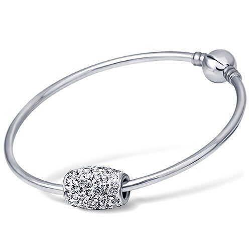Silver European Crystal Charm Bead Bangle Bracelet Jewelry For Women Stainless Steel Bangles