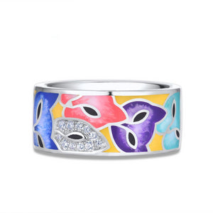 Jewelry Set For Woman 925 Sterling Silver Colorful Enamel Cute Fox White CZ Ring Earrings