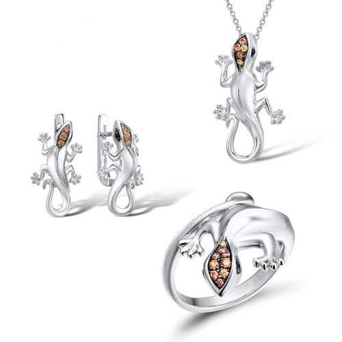 Jewelry Set With Silver Lizard In Champagne CZ Stones - GiftWorldStyle - Luxury Jewelry and Accessories