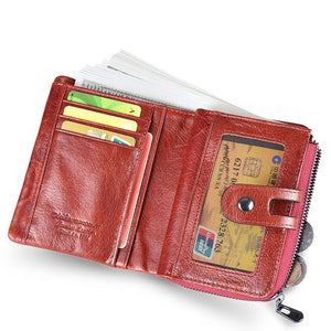 Genuine Leather Women Wallet Leather Wallets Brand Coins Purse Red COW Leather Card Holder