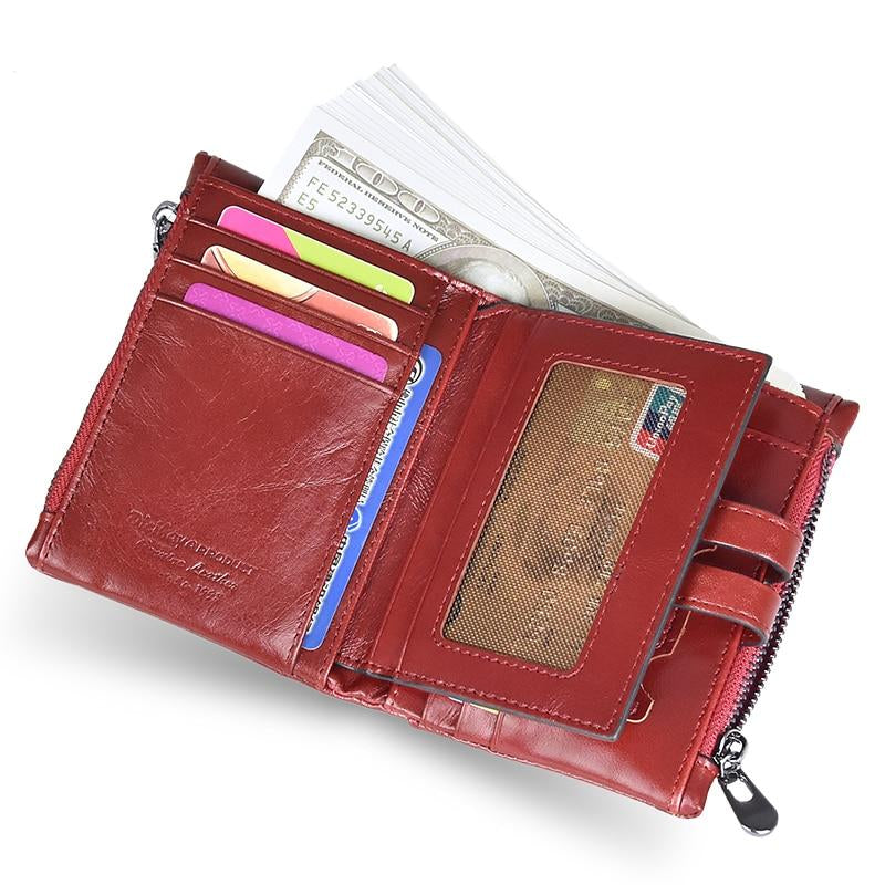 Genuine Leather Women Wallet Cash Purse Girl Small Red Clutch Coin Purses Holders Leather Double Zipper