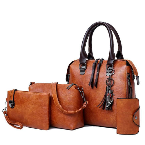 4 Psc Set Women's Handbags Large Capacity Women Bag Ladies Leather Tote Shoulder Bags - GiftWorldStyle - Luxury Jewelry and Accessories