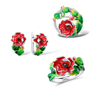 Jewelry Set Enamel Red Flower CZ Stones Ring Earrings Brooch Necklace 925 Sterling Silver Women