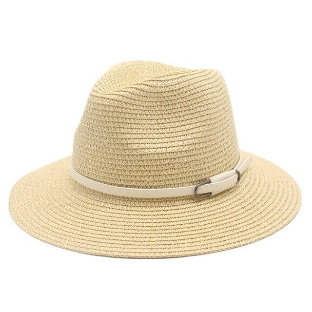 Straw Summer Sun Hat With Leather Strap - GiftWorldStyle - Luxury Jewelry and Accessories