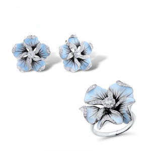 Jewelry Set 925 Sterling Silver Woman Gorgeous Blue Flower Ring Earrings Trendy Jewelry Set Enamel
