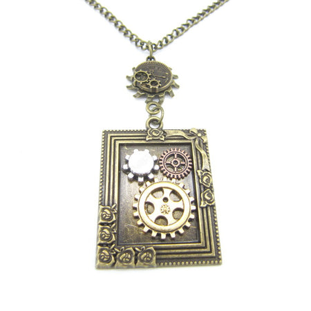 Vintage Photo Frame Steampunk Pendant With Gears Industrial