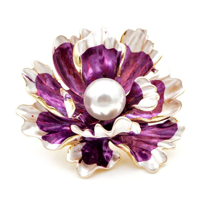 Enamel Peony Flower Large Wedding Brooches