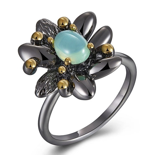 Women Vintage Flower Engagement Wedding Ring Synthetic Blue Opal Jewelry Fashion Jewelry