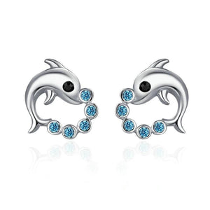 Cute Dolphin Love Ball Animal Stud Earrings - 925 Sterling Silver