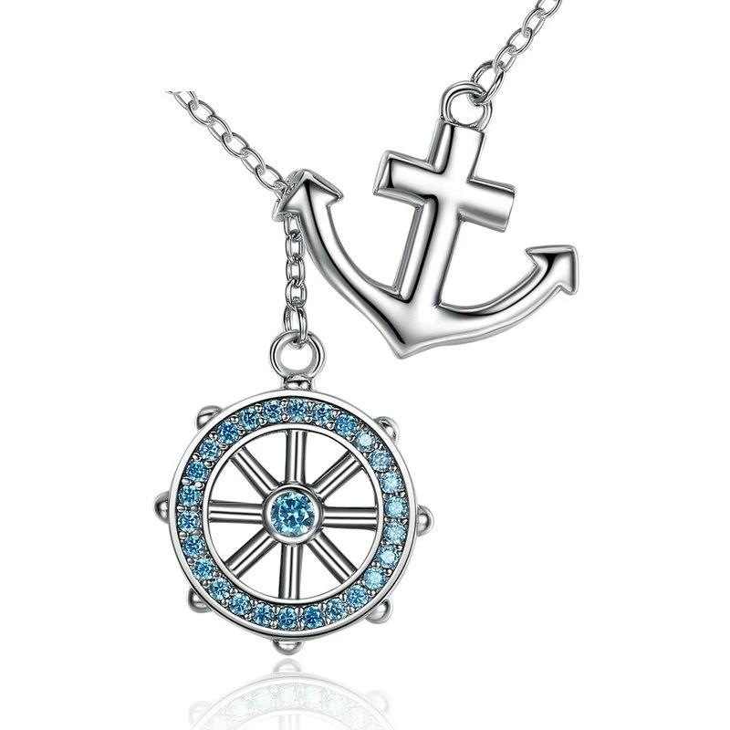 Blue Anchor Rudder Pendant Necklace - 925 Sterling Silver