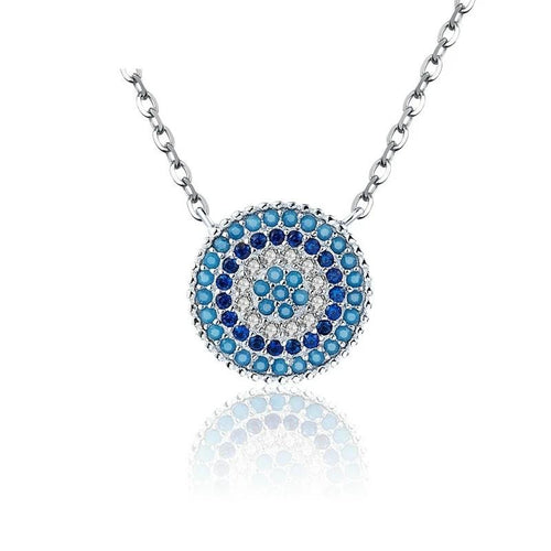 Round Blue Crystal Lucky Eyes Pendant Necklace - 925 Sterling Silver
