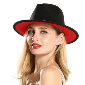 Women Ladies Red Patchwork Jazz Fedoras Hats with Ribbon Wool Felt Fedora Wide Brim Panama Style Hat