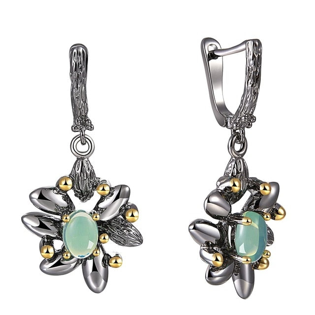 Vintage Flower Earrings For Women - Simulated Blue Opal Stone