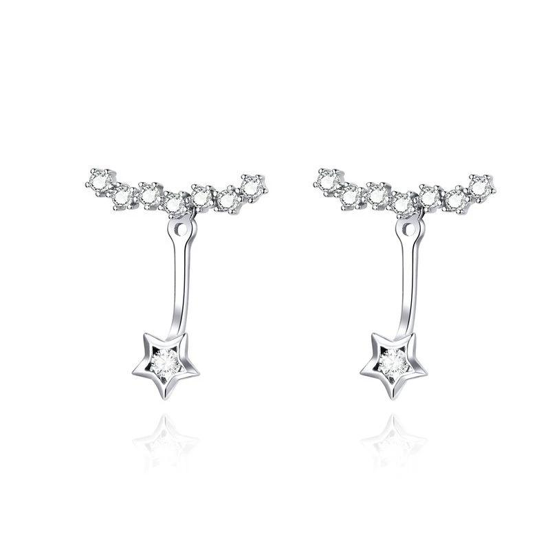 Dazzling Stars Earrings - Clear CZ, 925 Sterling Silver