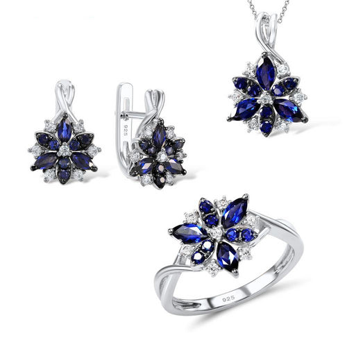 Silver Flower Jewelry Set  Blue Nano Cubic Zirconia Ring Earrings Pendant Set 925 Sterling Silver - GiftWorldStyle - Luxury Jewelry and Accessories