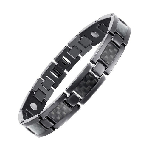 Black Titanium Bracelet With Carbon Fiber Magnetic Elements