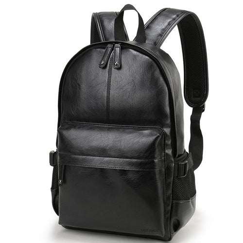 Men Backpack Leather School Bag Waterproof Travel Bag Casual Leather Book Male