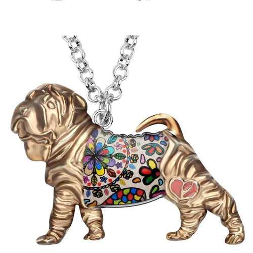 Enamel Alloy Chinese Shar Pei Dog Necklace Pendant Collier Animal Jewelry