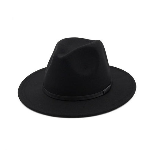 Fedoras Wool Hat With Leather Cord And Wide Brim - GiftWorldStyle - Luxury Jewelry and Accessories