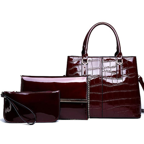 3 Sets Women Handbags Patent Leather Women Luxury Tote Ladies Shoulder Messenger Bag - GiftWorldStyle - Luxury Jewelry and Accessories