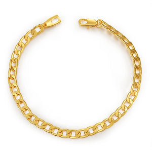 Gold Filled Cuban Link Chain Bracelet Hip Hop Jewelry 5MM Wide 21CM Curb Chain Accessories