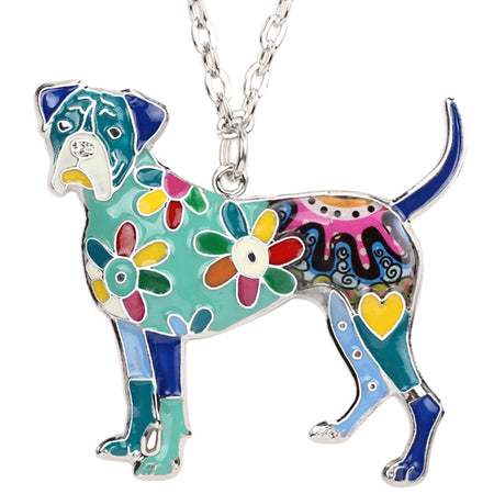 Bonsny Statement Enamel Alloy Boxer Dog Necklace Pendant Chain Choker Unique Animal Jewelry For Women Girls Pet Lovers Gifts Hot