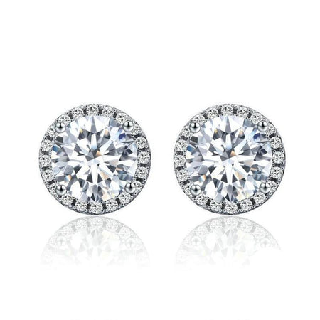 Dazzling Clear CZ Small Stud Earrings - 925 Sterling Silver