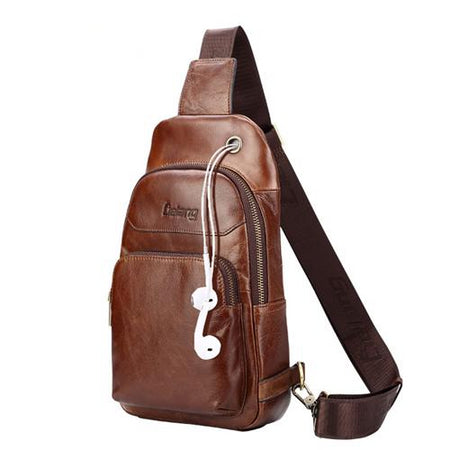Chest Bag Leather Men Shoulder Bag Casual Cowhide Leather Men's Messenger Bag - GiftWorldStyle - Luxury Jewelry and Accessories