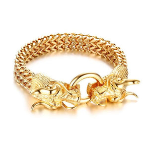 Punk Double Dragon Head Herringbone Chain Bracelet Stainless Steel Gold Tone Hip Hop Jewelry
