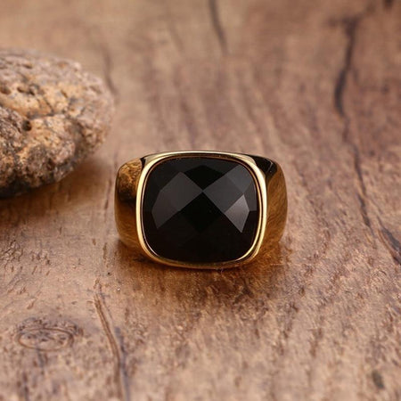 Punk Rock Ring With Black CZ For Men - Stainless Steel
