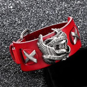 Punk Style Rider Eagle Genuine Leather Bracelet - Ride To Live - GiftWorldStyle - Luxury Jewelry and Accessories