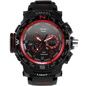 Red Band Man Sport Waterproof Outdoor Young Men Dual Digital Watch Clock