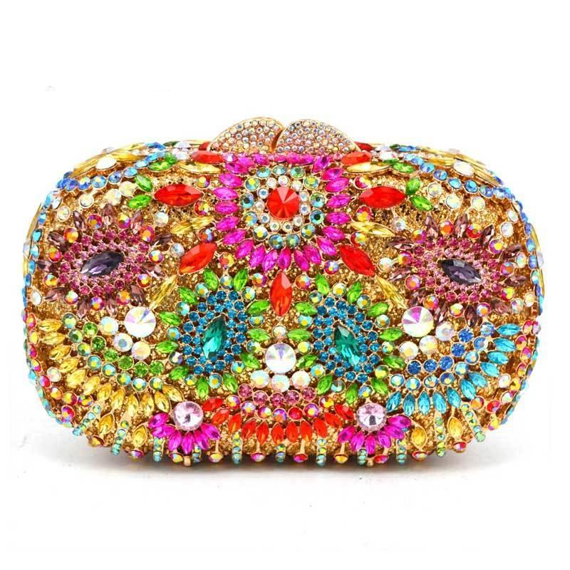 Red Hollow Out Flower Indian Clutch Bag Turquoise Luxury Crystal Evening Diamante Wedding Party