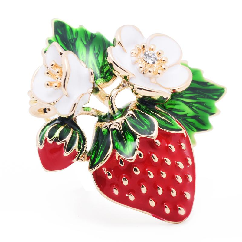 Strawberry Fruits With Flowers Enamel Brooch - GiftWorldStyle - Luxury Jewelry and Accessories