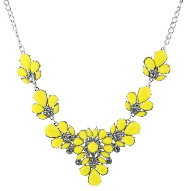 Rhinestone Flower Necklaces Women Crystal Jewelry Charm Silver Chain Choker Statement Bib Collar Necklace