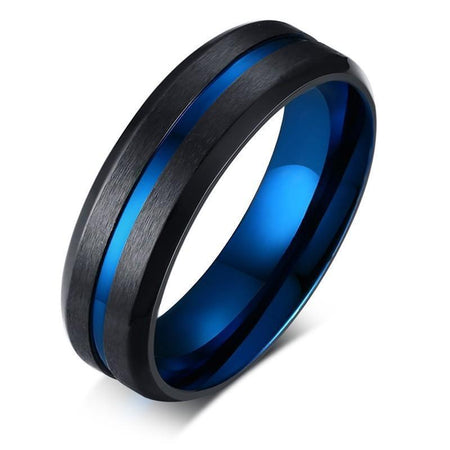 Ring With Thin Blue Line And Matte Finish - Stainless Steel - GiftWorldStyle - Luxury Jewelry and Accessories