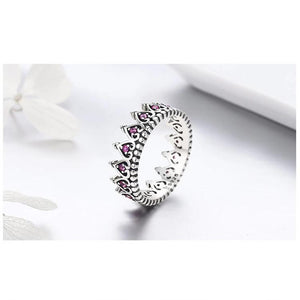 Romantic Crown Heart Pink Rings For Women - Sterling Silver