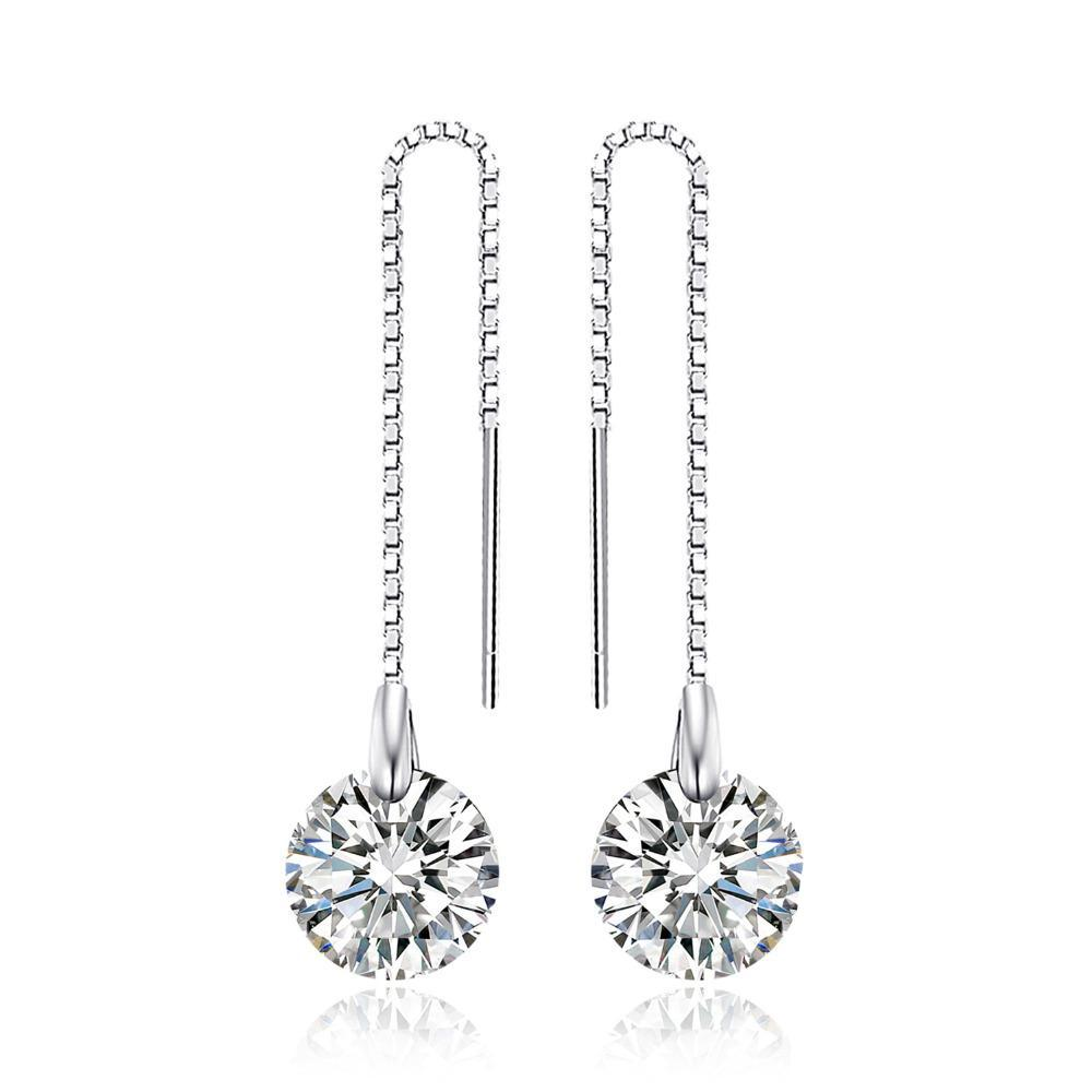 Round 8mm 5.0ct Linked Earrings - 925 Sterling Silver - GiftWorldStyle - Luxury Jewelry and Accessories