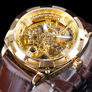 Royal Golden Flower Transparent Brown Leather Band Men Creative Watch Male Clock Waterproof Mechanical Wristwatch