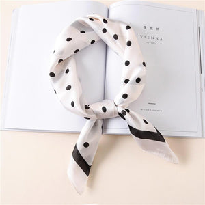 Striped Scarf From Pure Silk In Square Shape,Dots Print - GiftWorldStyle - Luxury Jewelry and Accessories