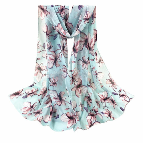 Scarf For Women With Flower Printed And Soft Polyester,Chiffon - GiftWorldStyle - Luxury Jewelry and Accessories