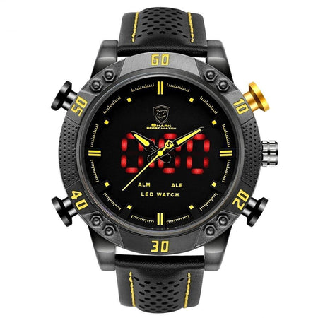 Shark Sport Watch Dial Waterproof LED Quartz Digital Leather Band Dual Time Military