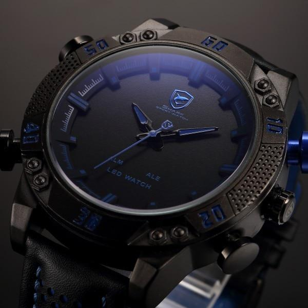 Shark Sport Watch With Dual Time And Digital LED, Waterproof - GiftWorldStyle - Luxury Jewelry and Accessories