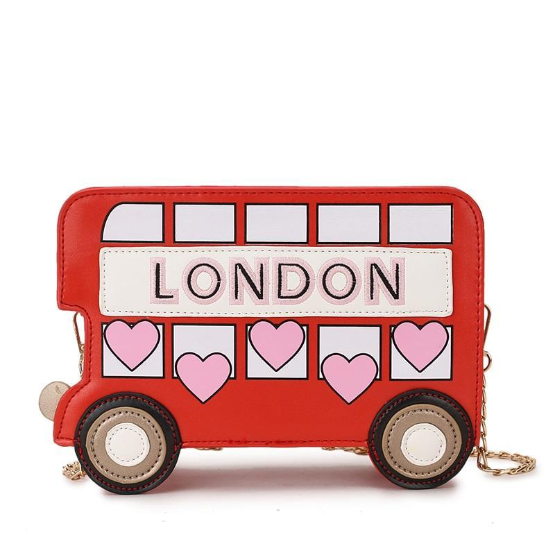 Sightseeing Bus Cartoon Print Girl's Mini Handbag