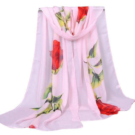 Chiffon Scarf In Long Size With Red Rose Print - GiftWorldStyle - Luxury Jewelry and Accessories